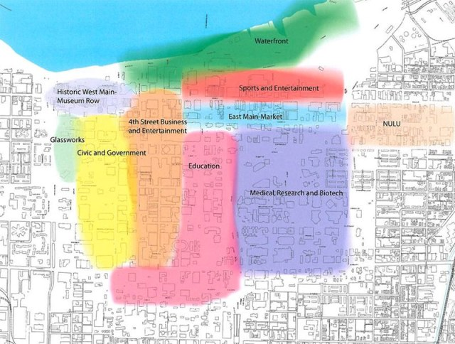 Downtown Louisville has been divided into a number of specialized districts. (Courtesy Louisville Downtown Partnership)