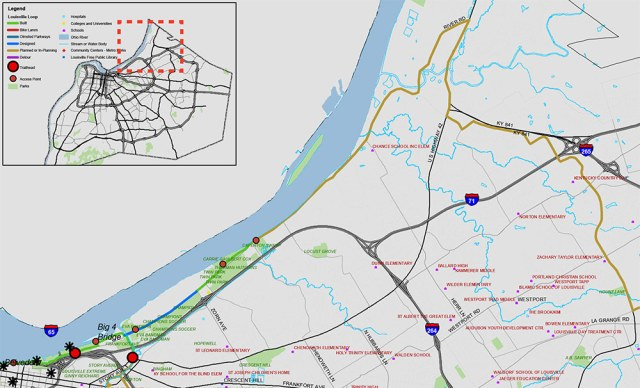 Conceptual route for the Ohio Valley Northeast segment from the Louisville Loop master plan. (Courtesy Louisville Loop)