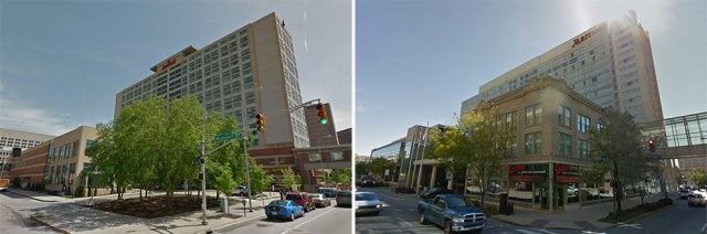 The Indianapolis Marriott, left, and Louisville's Marriott, right. (Courtesy Google)
