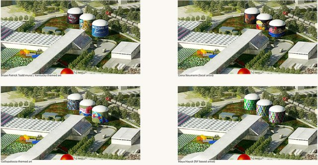 The biodigesters could be wrapped with colorful artwork. (Courtesy OMA / GBBN / Seed Capital Kentucky)