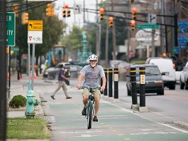 Shelby Street in Indianapolis is a model for that city's two latest protected-lane projects. (Courtesy People for Bikes)