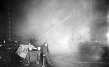 A historic look at firemen at work in Louisville. (Courtesy UL Photographic Archives)