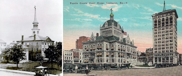 """Lexington's """"old"""" courthouse in the 1850s and the """"new"""" courthouse in the early 20th century."""
