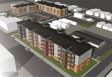 Rendering of the proposed New Albany development. (Courtesy Flaherty & Collins)