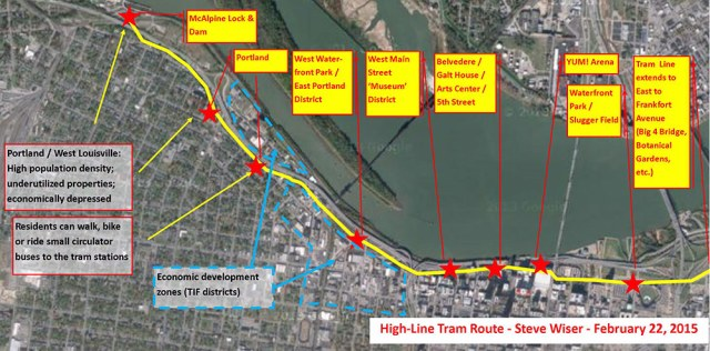 "Proposed route for the ""High-Line Tram."" (Courtesy Steve Wiser)"