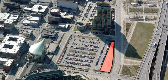 The Waterfront Development Corporation's parcel shown in red. (Courtesy Bing)