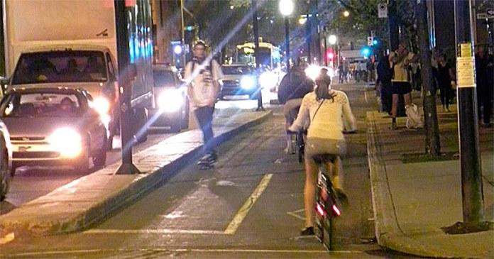 Former parking spaces in Boulevard de Maissonneuve, Montreal. (JasonParis)
