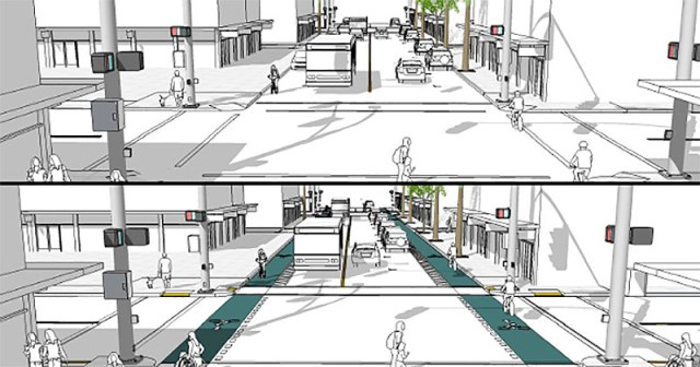 Before and after plans for University Avenue in San Diego. (Courtesy People for Bikes)
