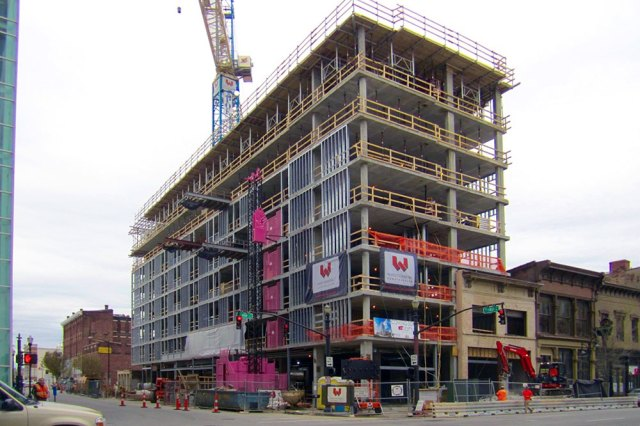The Aloft Hotel under construction on the corner of East Main Street and First Street. (Porter Stevens)