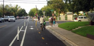 A protected bike lane in Auctin, Texas. (Courtesy City of Austin)