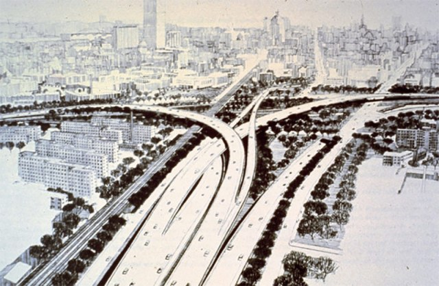 The never-built I-95/695 interchange in Roxbury, Mass. (Courtesy Hyperreal Cartography)
