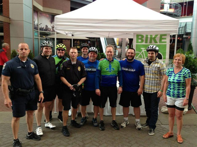 A team from GS&P during Bike to Work Day 2013 with Mayor Greg Fischer. (Courtesy GS&P)