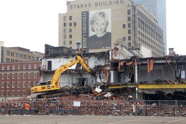 Demolition work at the Water Company Building as of Monday.