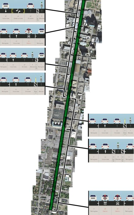 Route of the new Sixth Street bike lane showing varying lane treatments. (Montage by Broken Sidewalk)