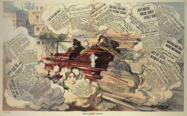 "A cartoon from 1909 ""shows the outrage felt by many Americans that wealthy motorists could hurt others without consequence,"" according to Collectors Weekly."