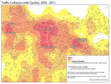Pat Smith mapped traffic collisions with cyclists from 2002 to 2011 to generate this heat map of crashes. (Courtesy MapGrapher)