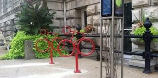 New bike racks at City Hall. (Courtesy Bike Louisville)