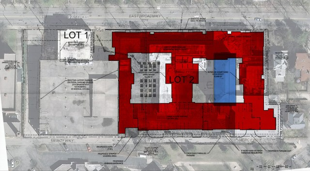The apartment building site plan overlaid with the historic Mercy Academy classroom building. (Courtesy Edwards Companies / Lojic / Montage by Broken Sidewalk)