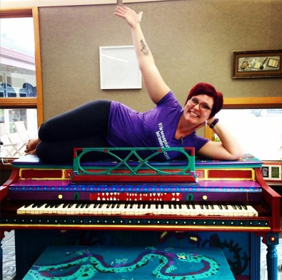 Rosenberry celebrates the street piano approval. (Courtesy Rosenberry)