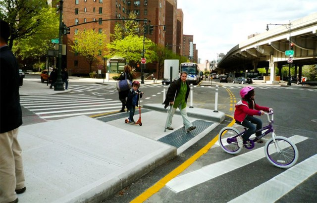 A pedestrian refuge island in New York City. (Courtesy NACTO)