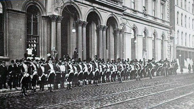Dress Parade of the Putnam Phalanx in 1897. (Courtesy Tipster)