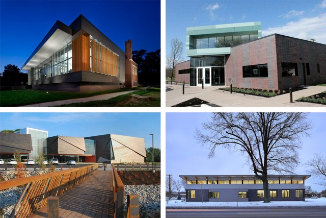 Clockwise from upper left: Shawnee Branch Library, Fairdale Branch Library, Newburg Branch Library, Southwest Regional Library. (Courtesy MS&R)