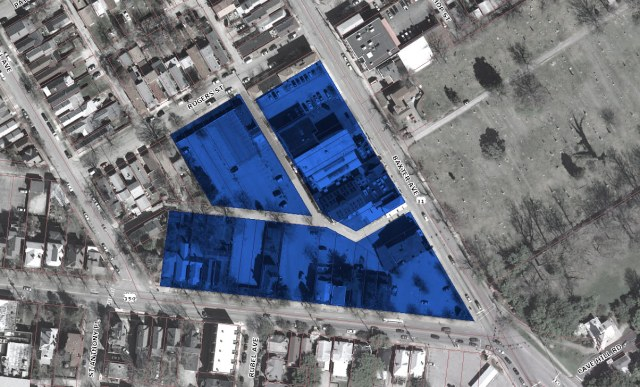 The site indicated in Blue. (Lojic / Montage by Broken Sidewalk)