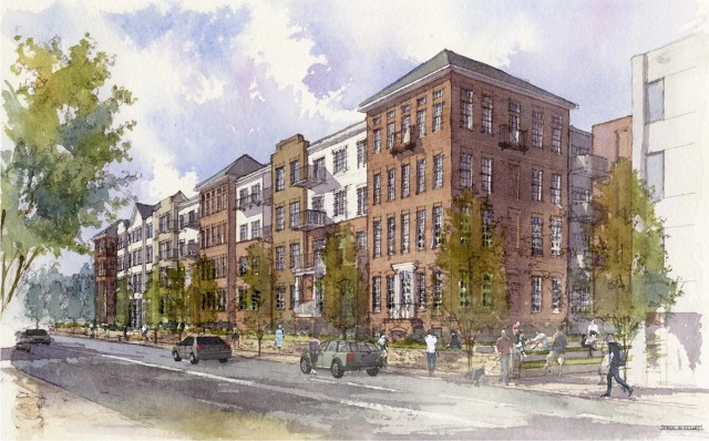 Rendering of the apartment building proposed for the Mercy Academy site. (Courtesy Edwards Companies)
