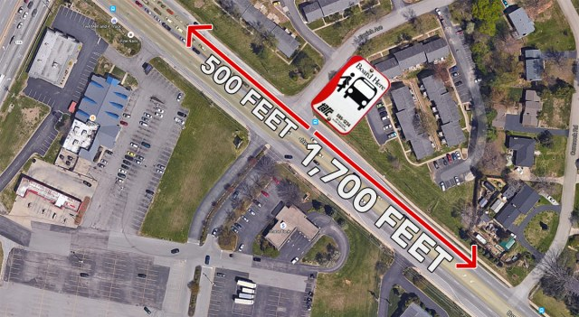 Distance to crosswalks from the Emrich Avenue bus stop. (Courtesy Google; Montage by Broken Sidewalk)