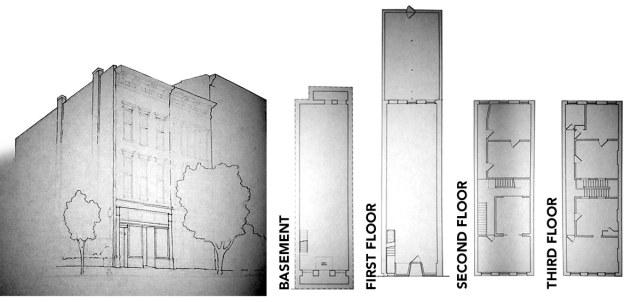 Building floor plan for 107 West Market Street. (Courtesy Jackie Green / Montage by Broken Sidewalk)