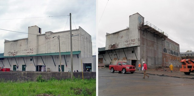 Before and after demolition along Washington Street. (Courtesy KYTC)