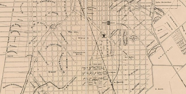A map of the area around today's University of Louisville in 1873/ (Courtesy Library of Congress)