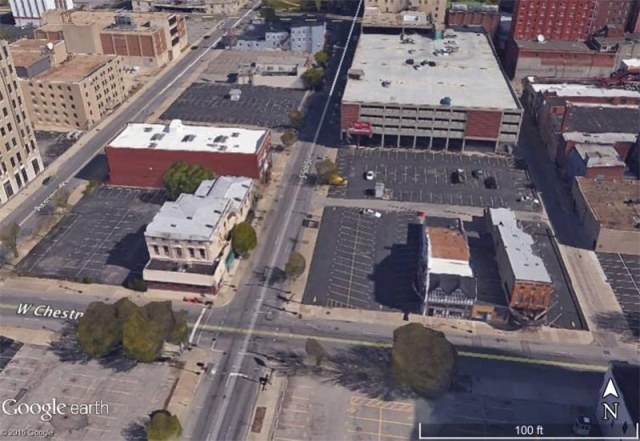 The proposal site at Fifth and Chestnut streets. (Courtesy Google)