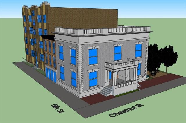 Rendering of a rebuilt WaCo facade. (Porter Stevens)