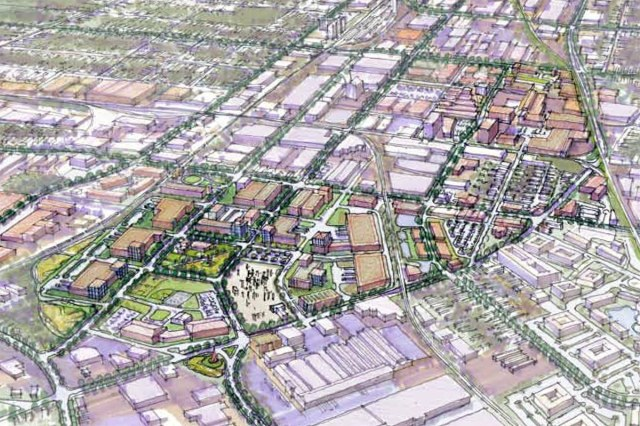 Rendering from a 2009 Aecom report showing reuse of the old Rhodia SA site. (Courtesy Aecom)