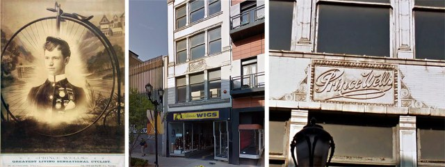 Prince Wells, left, and his circa 1900 bike shop along Fourth Street, center and right. (Courtesy Kentucky Wheelmen; Google)