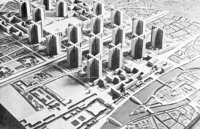 Le Corbusier's Radiant City plan to redevelop Paris.