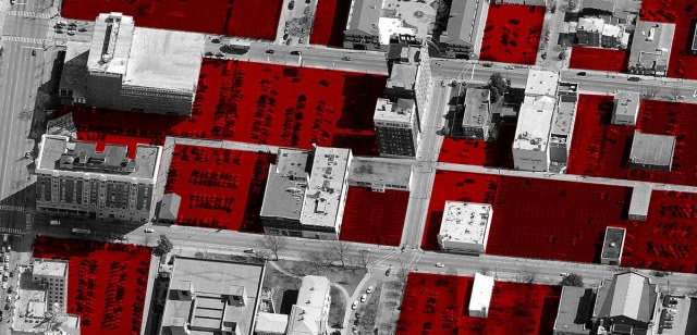A small segment of SoBro highlighting surface parking lots and vacant land. (Courtesy Bing Maps; Montage by Broken Sidewalk)