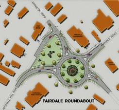 An early drawing of the roundabout showing ideas about new park space. (Fairdale Neighborhood Plan)