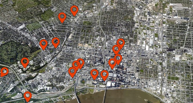 Map showing the 16 largest multi-family projects currently underway in Louisville. (Montage by Broken Sidewalk)
