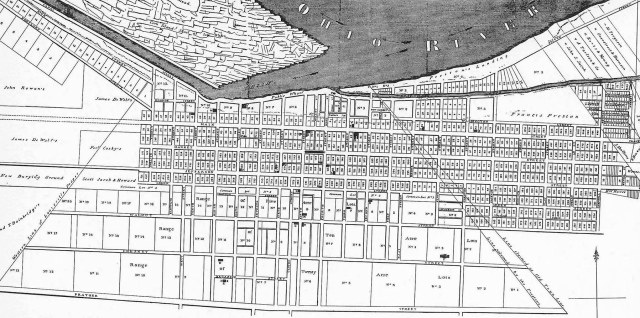 An 1832 map of Louisville showing the east-west alignment of streets and Broadway at the south end.