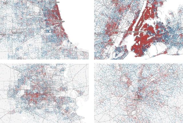 Clockwise from top left: Chicago, New York City, Atlanta, and Houston. (Courtesy Ken Schwencke)