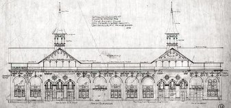 An architectural elevation of Churchill Downs.