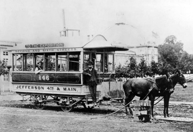 A mule-drawn streetcar at the Southern Exposition site in today's Central Park circa 1880s. (Courtesy UL Archives - Reference)