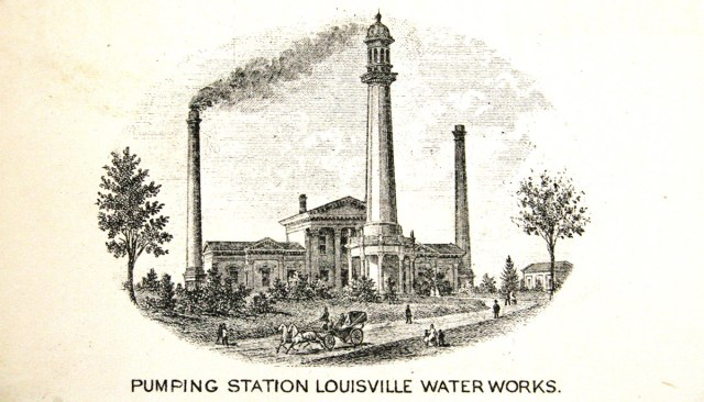 An engraving of the Louisville Water Company's pumping station on River Road in 1875. (Courtesy Metro Louisville)