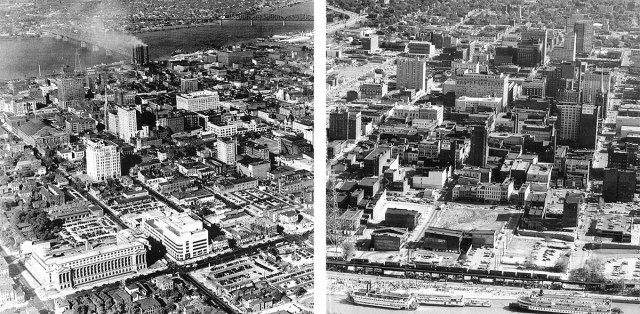 A view of Louisville circa 1950 showing Broadway (left) and a view of the waterfront area circa 1968 (right).