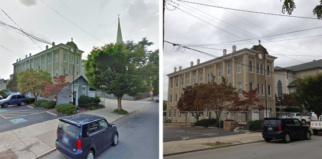 Phoenix Hill shotgun house demolition, before and after. (Courtesy Google; Branden Klayko / Broken Sidewalk)