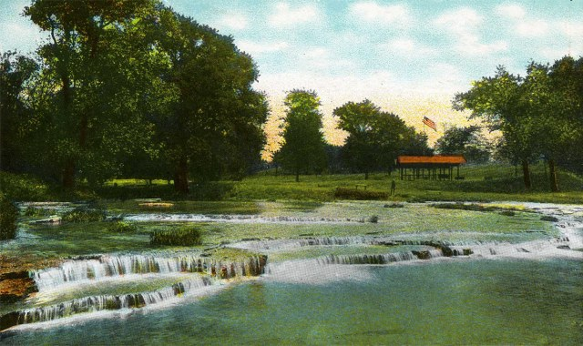 The Falls at Beargrass Creek in Cherokee Park circa 1914. (Courtesy of the National Park Service, Frederick Law Olmsted National Historic Site)