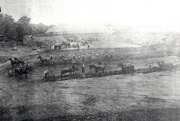 Excavation of a 10 million gallon reservoir circa 1858 required 500 laborers, 50 quarrymen, 50 stone cutters, and 40 cart drivers. (Courtesy Metro Louisville)