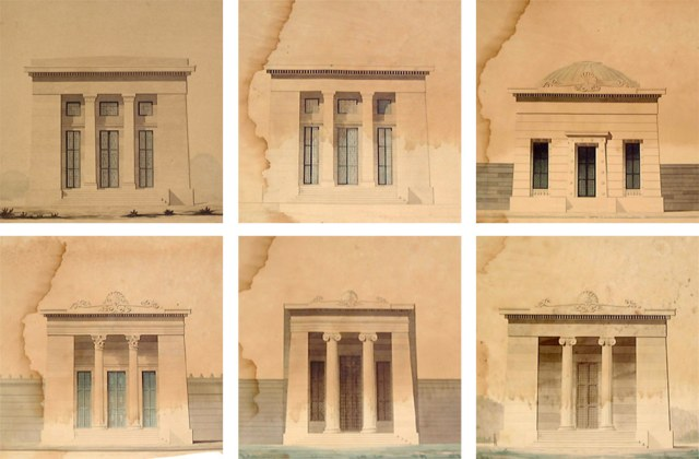 "A series of Dakin's drawings showing a series of undated, ""unidentified temple-like buildings"" and the St. Peter St. Arsenal, upper left. The bottom row center appears to be a sketch of Louisville's structure. (Courtesy NOLA Public Library)"